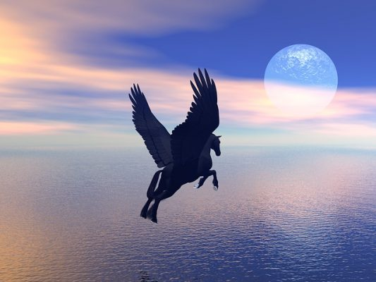 pegasus flying with moon in background